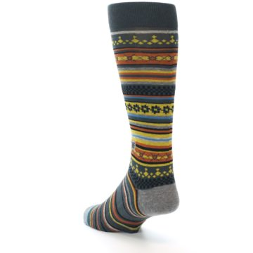 Image of Blue Yellow Orange Stripe Pattern Men's Casual Socks (side-2-back-15)