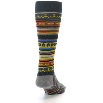 Image of Blue Yellow Orange Stripe Pattern Men's Casual Socks (back-19)