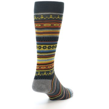 Image of Blue Yellow Orange Stripe Pattern Men's Casual Socks (side-1-back-20)