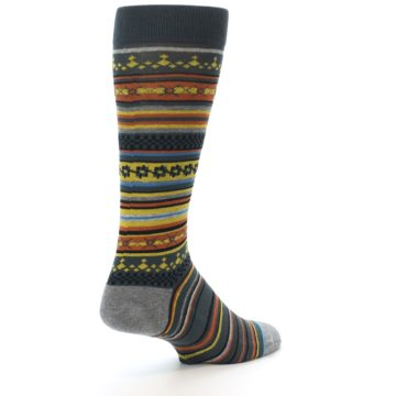 Image of Blue Yellow Orange Stripe Pattern Men's Casual Socks (side-1-back-21)