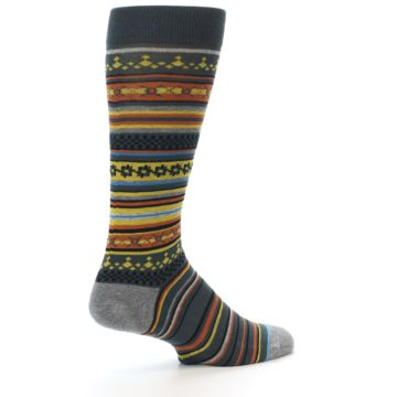 Image of Blue Yellow Orange Stripe Pattern Men's Casual Socks (side-1-back-22)