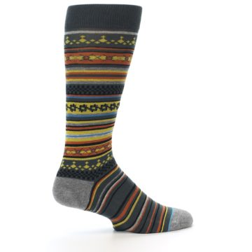 Image of Blue Yellow Orange Stripe Pattern Men's Casual Socks (side-1-23)