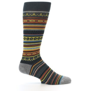 Image of Blue Yellow Orange Stripe Pattern Men's Casual Socks (side-1-24)