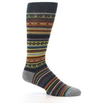 Image of Blue Yellow Orange Stripe Pattern Men's Casual Socks (side-1-25)