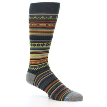 Image of Blue Yellow Orange Stripe Pattern Men's Casual Socks (side-1-26)