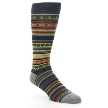 Image of Blue Yellow Orange Stripe Pattern Men's Casual Socks (side-1-27)
