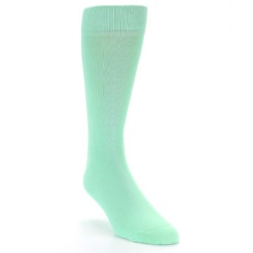 Image of Mint Green Solid Color Men's Dress Socks (side-1-front-02)