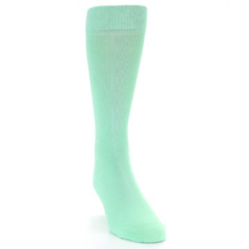 Image of Mint Green Solid Color Men's Dress Socks (side-1-front-03)
