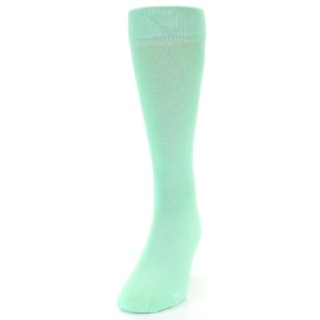 Image of Mint Green Solid Color Men's Dress Socks (side-2-front-06)