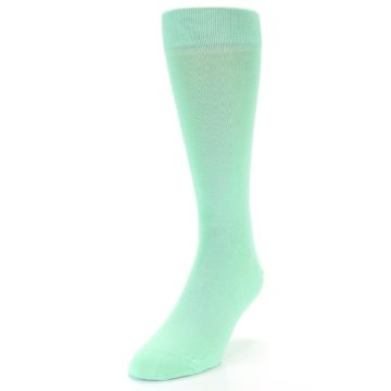 Image of Mint Green Solid Color Men's Dress Socks (side-2-front-07)