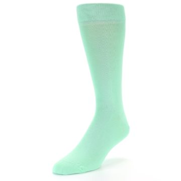 Image of Mint Green Solid Color Men's Dress Socks (side-2-front-08)