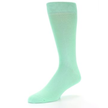 Image of Mint Green Solid Color Men's Dress Socks (side-2-09)