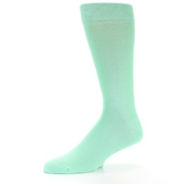 Image of Mint Green Solid Color Men's Dress Socks (side-2-10)