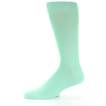Image of Mint Green Solid Color Men's Dress Socks (side-2-11)
