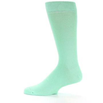 Image of Mint Green Solid Color Men's Dress Socks (side-2-12)