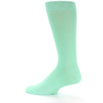 Image of Mint Green Solid Color Men's Dress Socks (side-2-13)