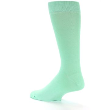 Image of Mint Green Solid Color Men's Dress Socks (side-2-back-14)
