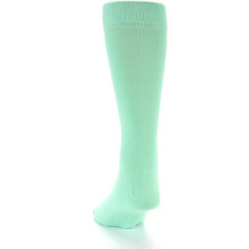 Image of Mint Green Solid Color Men's Dress Socks (back-17)