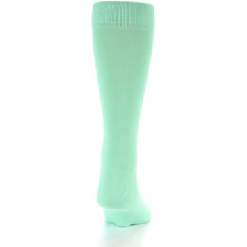 Image of Mint Green Solid Color Men's Dress Socks (back-19)