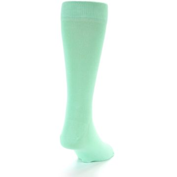 Image of Mint Green Solid Color Men's Dress Socks (side-1-back-20)