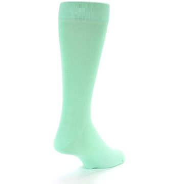 Image of Mint Green Solid Color Men's Dress Socks (side-1-back-21)