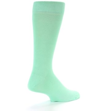 Image of Mint Green Solid Color Men's Dress Socks (side-1-back-22)