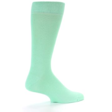 Image of Mint Green Solid Color Men's Dress Socks (side-1-23)