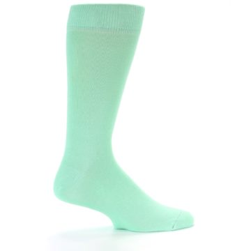 Image of Mint Green Solid Color Men's Dress Socks (side-1-24)