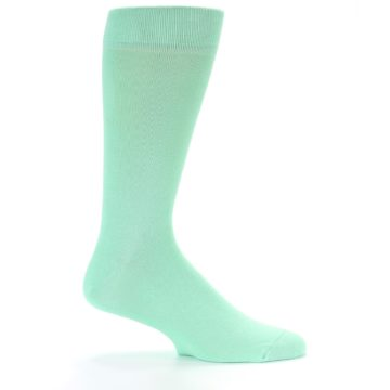 Image of Mint Green Solid Color Men's Dress Socks (side-1-25)
