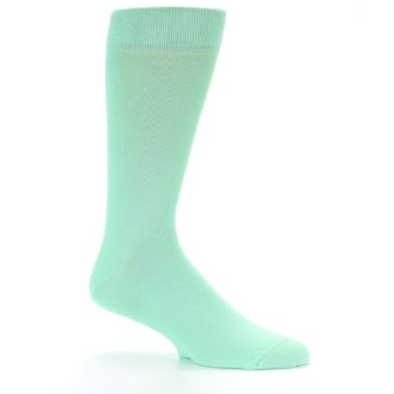 Image of Mint Green Solid Color Men's Dress Socks (side-1-26)