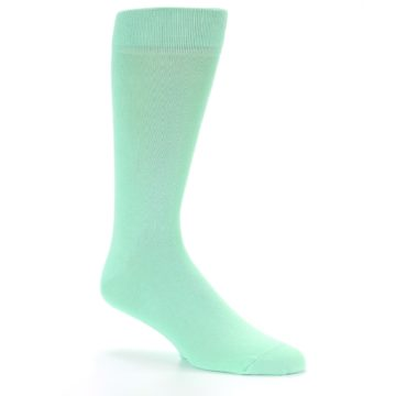 Image of Mint Green Solid Color Men's Dress Socks (side-1-27)