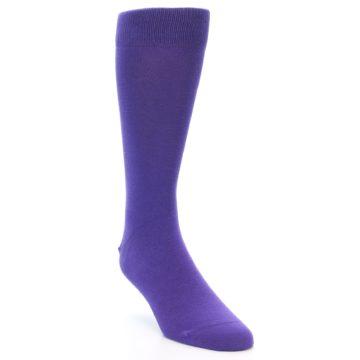 Image of Viola Purple Solid Color Men's Dress Socks (side-1-front-02)