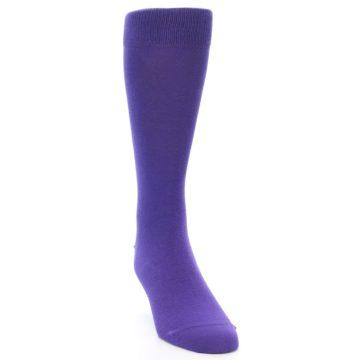Image of Viola Purple Solid Color Men's Dress Socks (side-1-front-03)