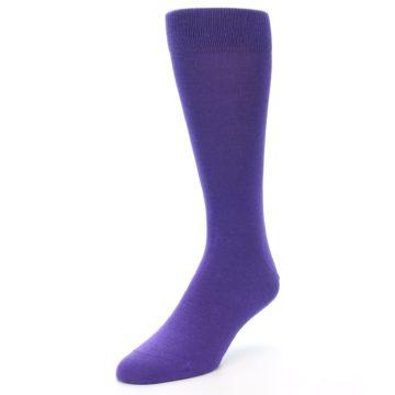 Image of Viola Purple Solid Color Men's Dress Socks (side-2-front-08)