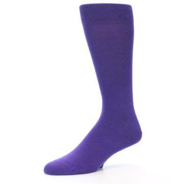 Image of Viola Purple Solid Color Men's Dress Socks (side-2-10)