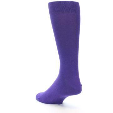 Image of Viola Purple Solid Color Men's Dress Socks (side-2-back-15)