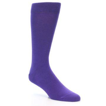 Image of Viola Purple Solid Color Men's Dress Socks (side-1-27)