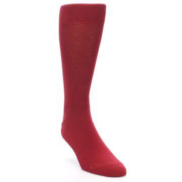 Image of Apple Red Solid Color Men's Dress Socks (side-1-front-02)