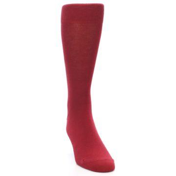 Image of Apple Red Solid Color Men's Dress Socks (side-1-front-03)