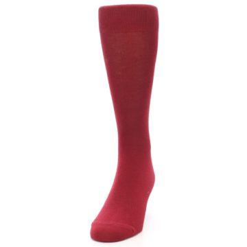 Image of Apple Red Solid Color Men's Dress Socks (side-2-front-06)