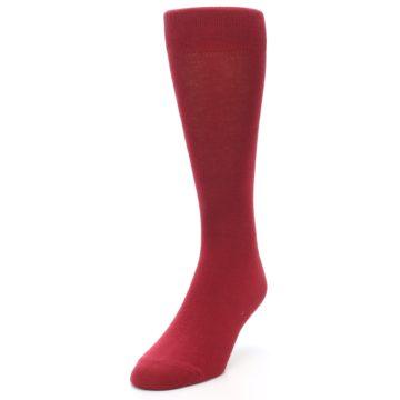 Image of Apple Red Solid Color Men's Dress Socks (side-2-front-07)