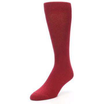 Image of Apple Red Solid Color Men's Dress Socks (side-2-front-08)