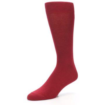 Image of Apple Red Solid Color Men's Dress Socks (side-2-09)