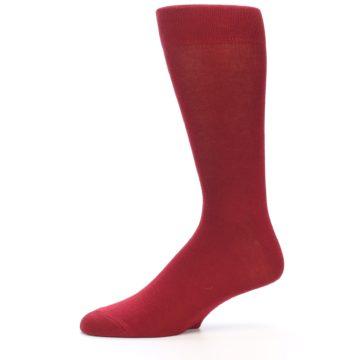 Image of Apple Red Solid Color Men's Dress Socks (side-2-11)