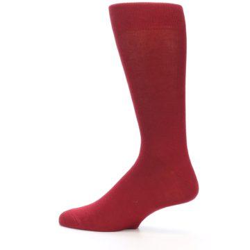 Image of Apple Red Solid Color Men's Dress Socks (side-2-12)