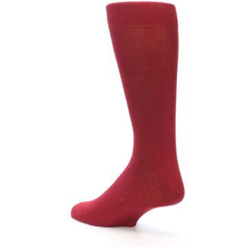 Image of Apple Red Solid Color Men's Dress Socks (side-2-back-14)