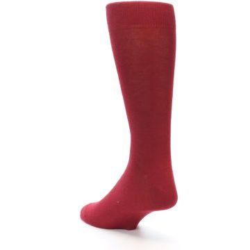 Image of Apple Red Solid Color Men's Dress Socks (side-2-back-15)