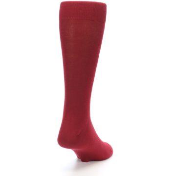 Image of Apple Red Solid Color Men's Dress Socks (side-1-back-20)