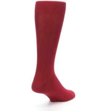 Image of Apple Red Solid Color Men's Dress Socks (side-1-back-21)