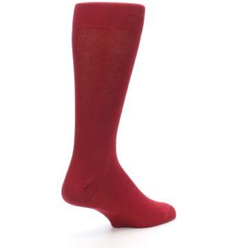 Image of Apple Red Solid Color Men's Dress Socks (side-1-back-22)